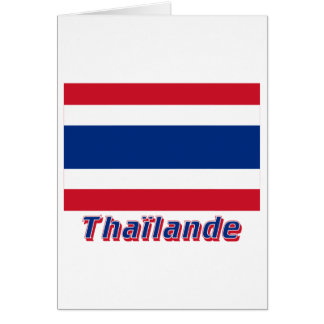 Drapeau Thaïlande avec le nom en français Card