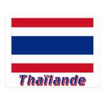 Drapeau Thaïlande avec le nom en français Postcard