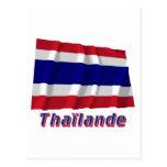 Drapeau Thaïlande avec le nom en français Post Card
