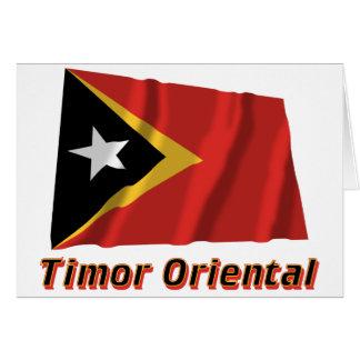 Drapeau Timor oriental avec le nom en français Cards