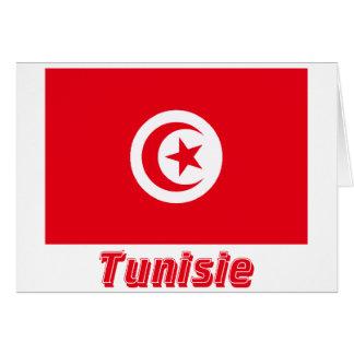Drapeau Tunisie avec le nom en français Card