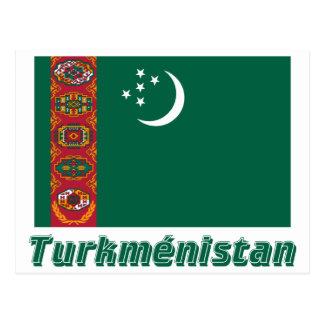 Drapeau Turkménistan avec le nom en français Postcard