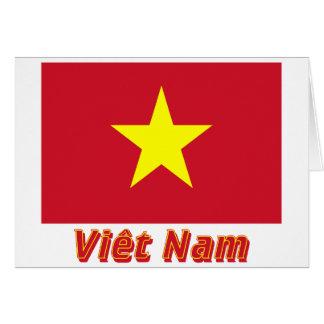 Drapeau Viêt Nam avec le nom en français Cards