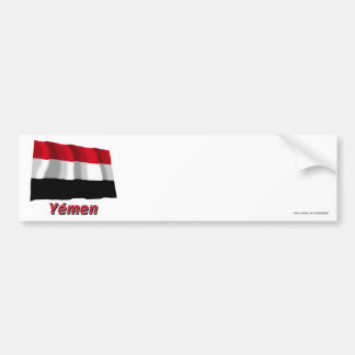 Drapeau Yémen avec le nom en français Bumper Sticker