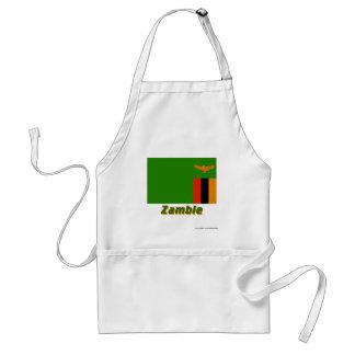 Drapeau Zambie avec le nom en français Apron