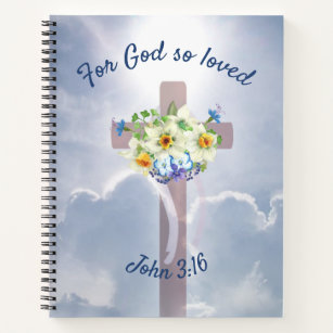 draped cross easter lily bible verse notebook