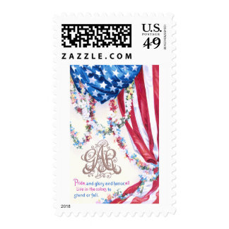 Draped Flag and Flower Garlands Stamp