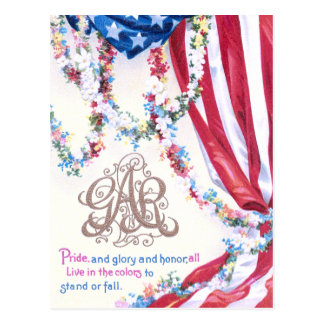 Draped Flag and Flower Garlands Postcards