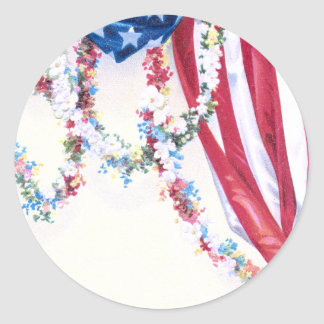 Draped Flag and Flower Garlands Round Stickers