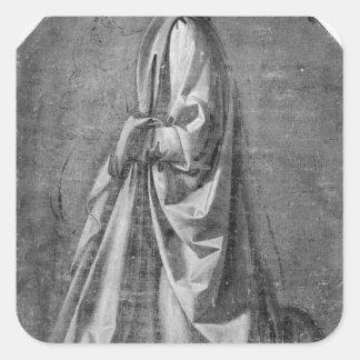 Drapery study for a kneeling figure square sticker