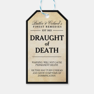 Draught of Death zombie Halloween apothecary tag