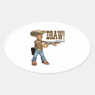 Draw 2 oval sticker