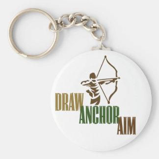 Draw. Anchor. Aim. Basic Round Button Keychain