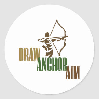 Draw Anchor Aim Round Stickers