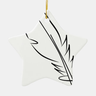 draw feather ink ceramic ornament