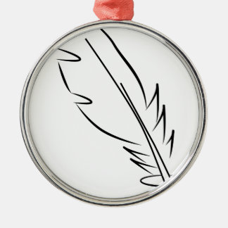 draw feather ink metal ornament
