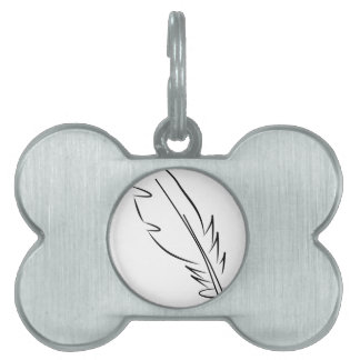 draw feather ink pet tag