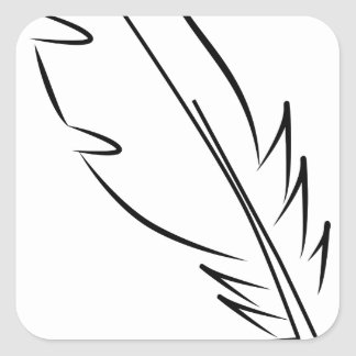 draw feather ink square sticker
