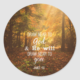 Draw Near to God Bible Verse Classic Round Sticker