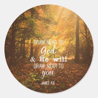 Draw Near to God Bible Verse Classic Round Sticker
