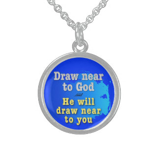 Draw near to God & He will draw near to you Round Pendant Necklace