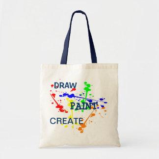 Draw, Paint, Create Art paint splash Canvas Bags