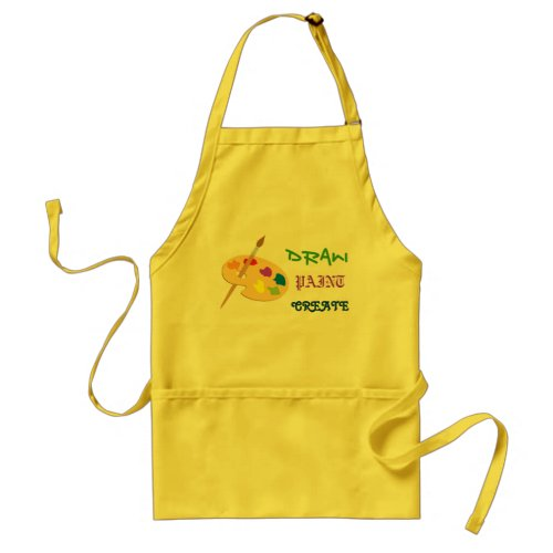 Draw Paint Create yellow art apron with palette