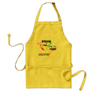 Draw, Paint , Create Yellow Art paint splash Adult Apron