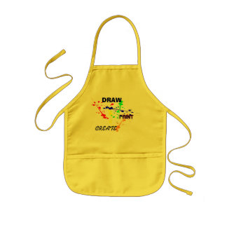 Draw, Paint , Create Yellow kids Art paint splash Kids' Apron