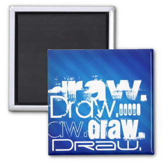 Draw, Royal Blue Stripes Refrigerator Magnets