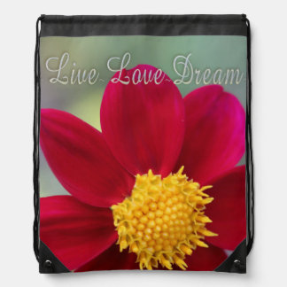 Draw String Back Pack Live Love Dream Flower Drawstring Backpack