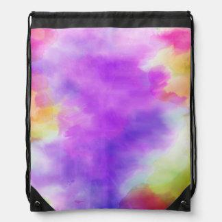 Draw String Back Pack Multi-Color Print Cinch Bag