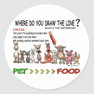 DRAW THE LINE  CARNISM CLASSIC ROUND STICKER