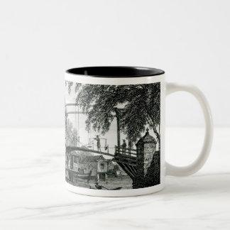 Drawbridge at Malacca, engraved by George Cooke Two-Tone Coffee Mug