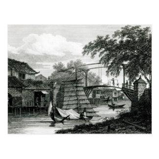 Drawbridge at Malacca, engraved by George Cooke Postcard