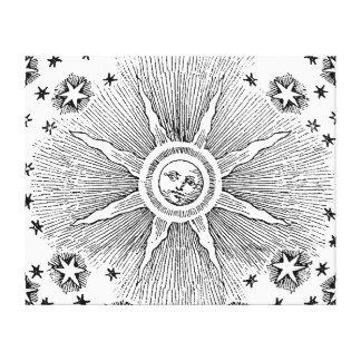 Drawi medieval celestial del sol del vintage y del lienzo envuelto para galerias