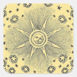 Drawi medieval celestial del sol del vintage y del pegatina cuadrada