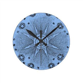 Drawi medieval celestial del sol del vintage y del reloj redondo mediano