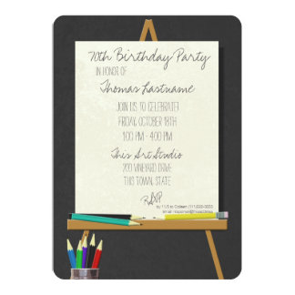 Drawing Art Easel Birthday Party Card
