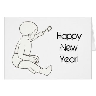 Drawing Baby Holding Hammer Happy New Year Cards