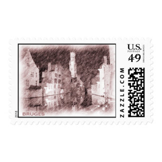 Drawing Bruges Rosary Quay and Belfry Postage