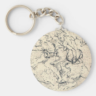 Drawing by Leonardo da Vinci Basic Round Button Keychain