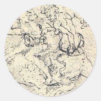 Drawing by Leonardo da Vinci Classic Round Sticker