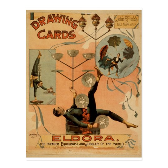 Drawing Cards, 'Eldora', Juggler of the World Postcard