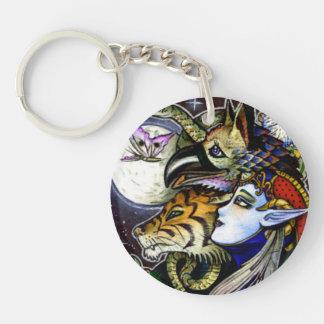 Drawing Down the Moon Acrylic Round Key Chain Round Acrylic Keychain