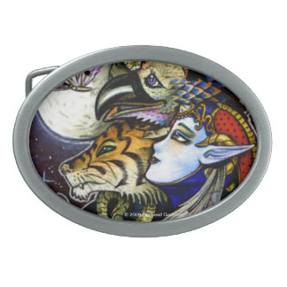 Drawing Down the Moon Oval Belt Buckle