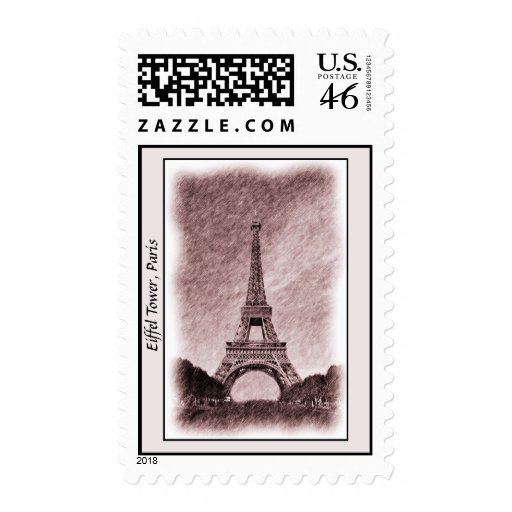 Drawing Eiffel Tower Paris Postage