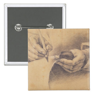 Drawing Hands, 1798 2 Inch Square Button