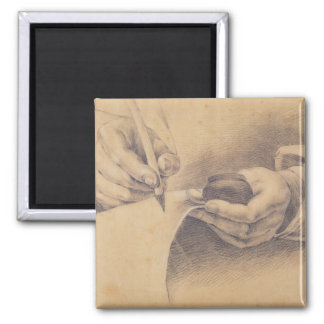 Drawing Hands, 1798 2 Inch Square Magnet