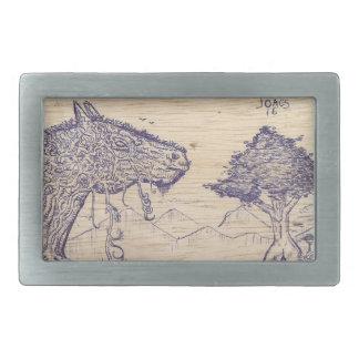 Drawing in wood rectangular belt buckle